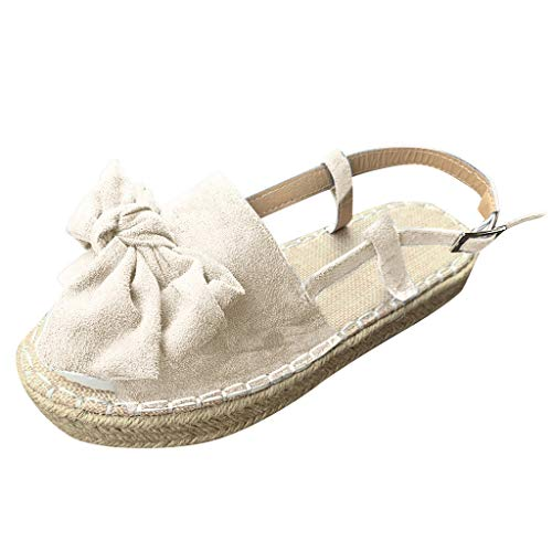Women's Casual Platform Sandals Espadrille Wedge Shoes Slippers Summer Ankle Buckle Open Toe Flat Sandals Beige