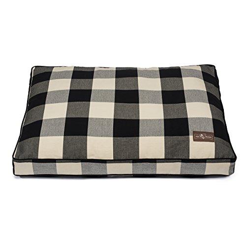 Jax and Bones Premium Cotton Blend Rectangular Pillow Bed, Medium, Buffalo Check Black by Jax & Bones