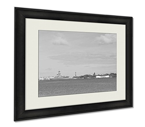 Ashley Framed Prints Pearl Harbor Historic Sites, Wall Art Home Decoration, Black/White, 30x35 (frame size), AG6404254 by Ashley Framed Prints