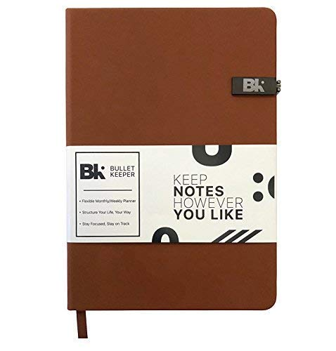 Bullet Keeper - Daily Weekly Monthly Planner - Undated Student/School/Work Schedule Planner - A5 Dot Grid Notebook - Hardcover Leather Personal Organizer (Black) (Brown)
