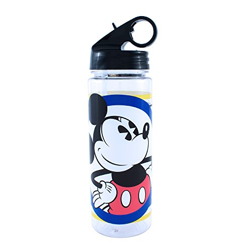 Silver Buffalo DD9764 Disney's Mickey Mouse Circle and Stripes Tritan Water Bottle, 20 oz, Multicolor