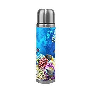 JSTEL Corals And Tropical Fish Stainless Steel Water Bottle Vacuum Insulated Leak Proof Double Vacuum Bottle for Hot Coffee or Cold Tea + Drink Cup Top 500ml