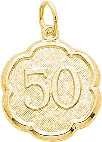 Rembrandt Charms Number 50 Charm, 14K Yellow Gold