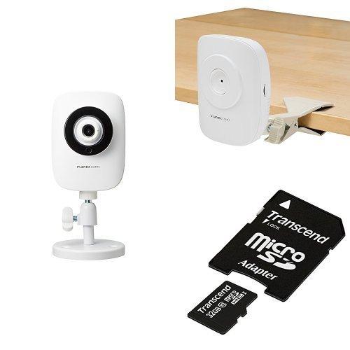 PLANEX ネットワークカメラ(スマカメ) 暗視撮影・マイク内蔵・スマホ/パソコン/テレビ対応 CS-QR20 スタンド/microSDカードセット