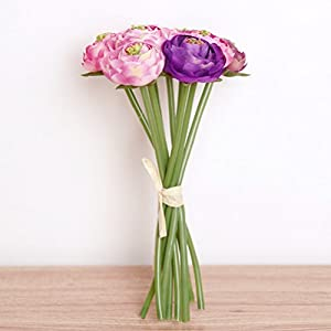 NEAER Artificial Roses Lotus Flowers Silk Plastic Roses Bunch for Home Garden Party Wedding Decoration 2