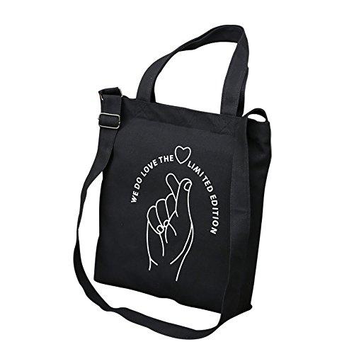 Doigt en Daorier Doigt épaule à Bag Toile Occasionnels Tote Messager Blanc Mode par Sac Femmes Noir Sac Main Imprimé qaxg6wCH