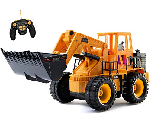 Top Race TR-113 5 Channel Full Functional Front Loader, Electric RC Remote Control Construction Tractor with Lights & Sounds (Rc Front End Loader Truck Construction Vehicle)