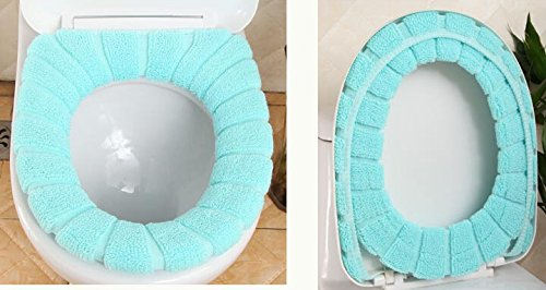 Practical Warm Soft & Comfy Winter Plush Thicken Waterproof Bathroom Toilet Decor Toilet Seat Cover Toilet Mat,Toilet Seat Cleaning Pad Cover,Toilet seat ring,Blue