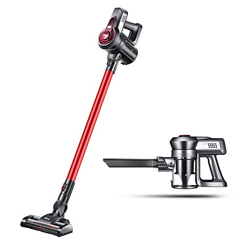 Cordless Vacuum Cleaner, Dibea 2 in 1 Bristle Roller Brush Stick & Handheld Bagless Vacuum Cleaner for Carpet, Hard Floor with HEPA Filtration, Rechargeable Lithium-Ion Battery and Wall Mount (Red)