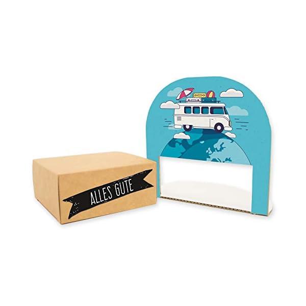 41GMNcR6w4L itenga Geldgeschenk oder Gutschein Verpackung Geschenkaufsteller Motiv/Anlass Reise Wohnmobil Camping mit Stickerbogen…