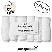 """%100 Turkish Cotton Baby Washcloths (6-pack) - Premium Extra Soft & Absorbent Towels For Baby's Sensitive Skin - Perfect 12""""x12"""" Reusable Wipes - Excellent Baby Shower"""