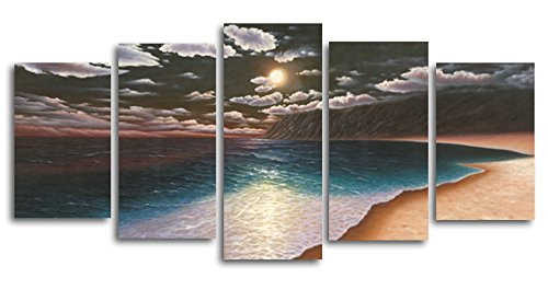 amazon com wieco art 5 piece the yellow beach stretched and framed