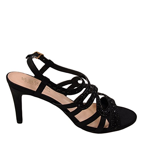 Blossom Rita 6 Women's Strappy Embellished Formal Heels (6.5, Black) (Strappy Low Heel Sandal With Crystals By Blossom)
