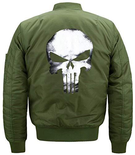 De Green Collar Hombres Flight Jacket Bombardero De Chaqueta Manga Lino 1 De Acolchado Larga Cráneo De De Vuelo Jacket Modelado Chaqueta Delgado Chaqueta Los qIBEaR