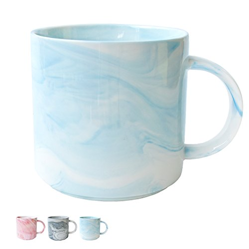 Marble Ceramic Coffee Mug, Blue Marble Cup for Women, Girls, Wife, Mom, Grandma, 13 Ounce/380 Milliliters, 1 Pack ()
