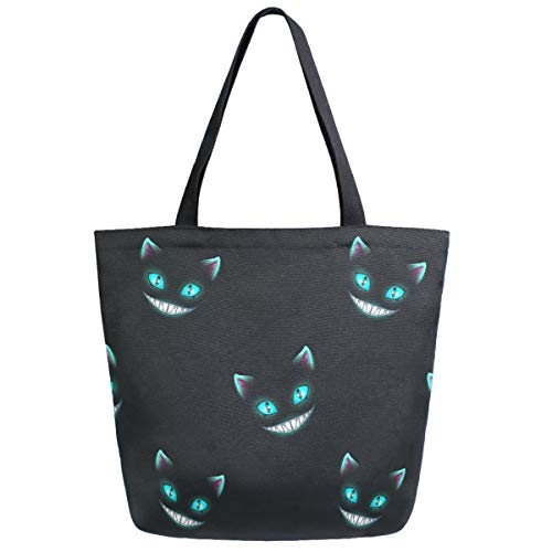 ZzWwR Stylish Smile Cheshire Cat Pattern Extra Large Canvas Beach Travel Reusable Grocery Shopping Tote Bag Portable Storage HandBag