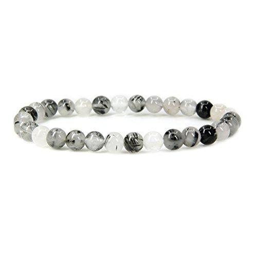 (Natural Black Rutilated Quartz Gemstone 6mm Round Beads Stretch Bracelet 7