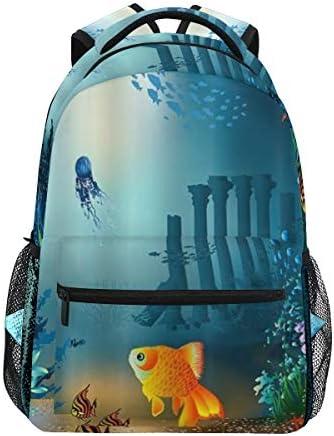 DISLONLY Rucksack Sporttasche Freizeittasche,Ozean-Tierunterwasserseeleben-Goldfische in Coral Reef Flower