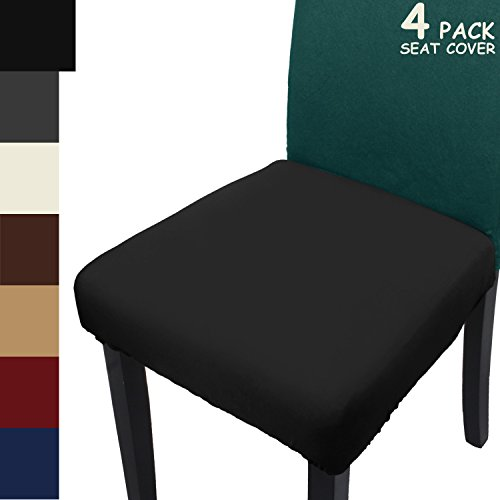TFJ Seat Covers Protectors Stretchable Spandex Chair Slipcovers for Dining Room Office Chair 4pcs (Black) (Covers Seat Chair Bar)