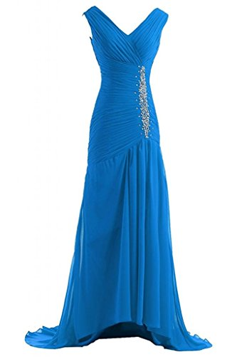 (Victoria Prom Trailing Evening Dresses Chiffon Bridal Reception Gowns Blue us10)