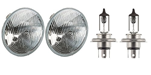 HELLA 2 X HELLA 002395071 7 H4 Type Single High/Low Beam Headlamp with Position Lamp Bundle with 2 X HELLA H4 12V 100/80W Halogen High Wattage Bulb Off Road Use