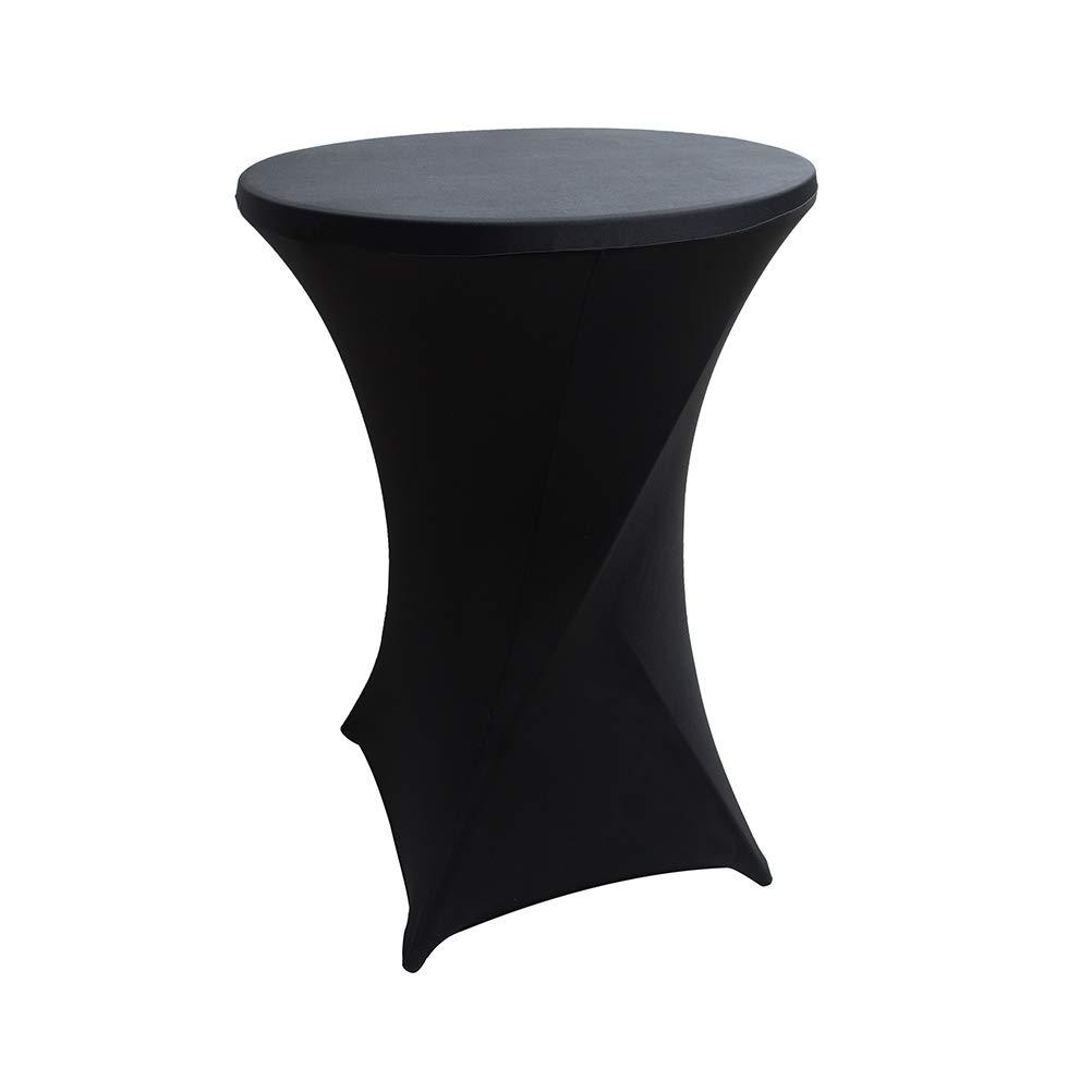BESTONZON 80 x 110 cm Couverture de Table en Lycra Cocktail Poseur Dry Bar Spandex Table Nappe Décorations pour Fête de Mariage (Noir)