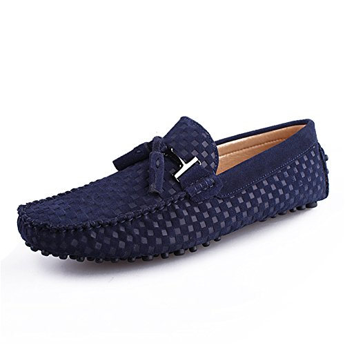 Go Tour Mens Moccasin Loafers Casual Suede Leather Driving Shoes Comfort Slip-on Tassel Loafer A-dark Blue rZkYDlYlt