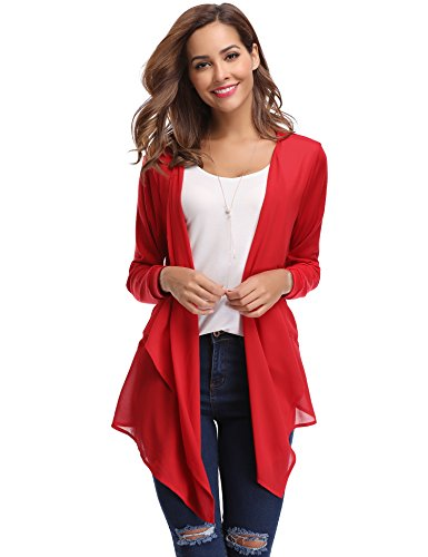 Abollria Women's Open Front Casual Solid Comfy Light Short Sleeve Chiffon Cardigan, Small from Abollria