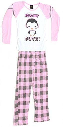 Fleece Print Pajama Set - Just Love Two Piece Girls Screen Print Pajamas Set - Jersey Top - Fleece Bottom,Penguin / Plaid,5-6