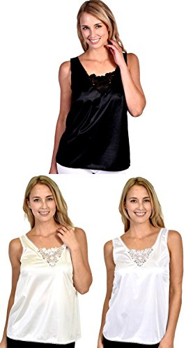 (Patricia Lingerie Women's Anti-Static Camisole with Elegant Lace 3-Pack (Black/Ivory/White, 4X))
