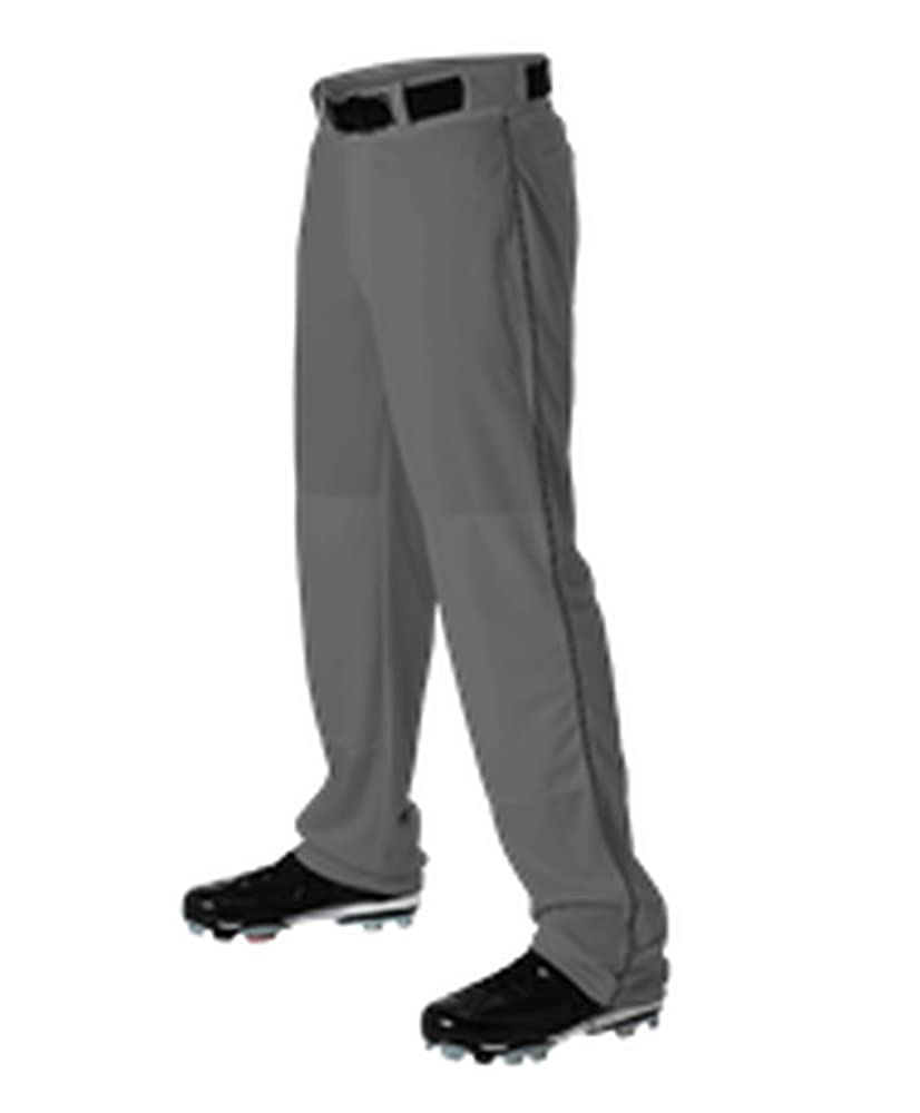 Alleson Athletic Youth Baseball Pant GRAY with Braid Piping 605WLBY Open Buttom