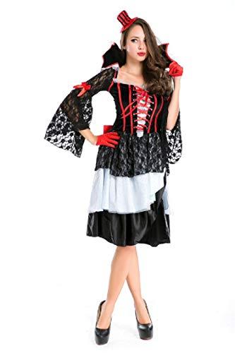 Simmia Halloween Costumes Caribbean Pirate Costume Luxury Queen Costume Cosplay Nightclub Theme Party, Red, U -
