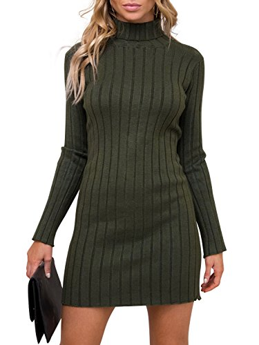 Simplee Women 's Casual manga larga Pullover Sweater de punto cuello delgado vestido Jumper Dark Verde