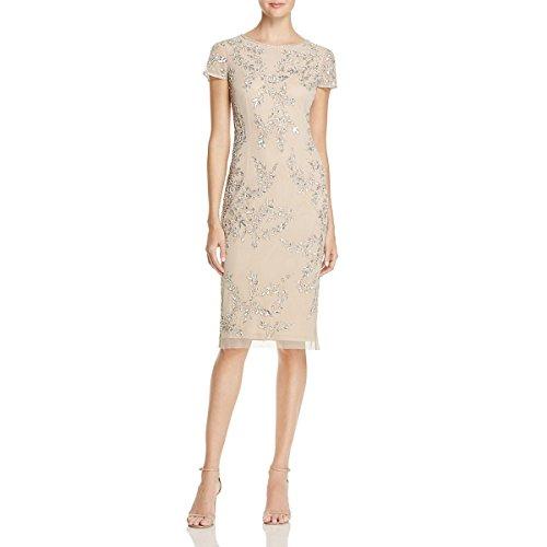 Beaded Sheath - Adrianna Papell Women's Short Sleeve Tea Length Beaded, Silver/Nude, 12
