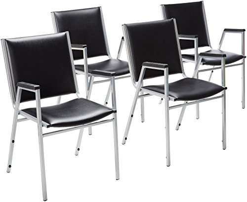 Lorell Stacking Chair with Plastic Arm, 20-3/4 by 20-3/8 by 35-5/8-Inch, Black, Set of 4