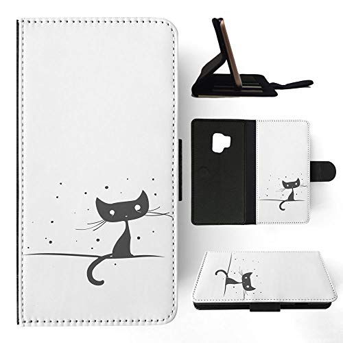 3170 Black Matte - Minimalistic Cat 2 Flip Wallet Phone Case Cover for Samsung Galaxy S9