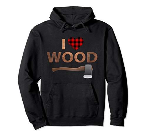 I Love Wood Hoodie Lumberjack Heart Halloween Party