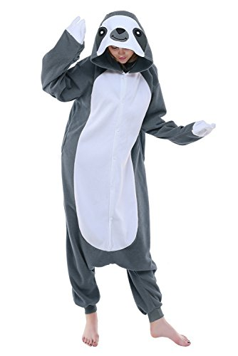 NEWCOSPLAY Unisex Aduit Sloth Pajamas- Plush One Piece Cosplay Animal Halloween Costume (M, Grey Sloth) -