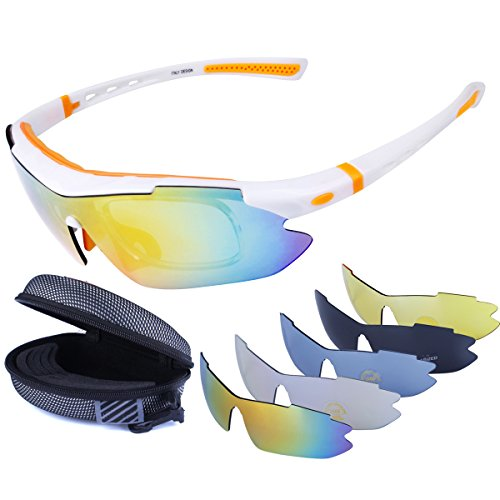a8b0ccf4d8d5 LOVE'S Polarized Sports Sunglasses with 5 Interchangeable Lenes for Cycling  Running