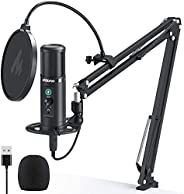 USB Podcast Microphone, MAONO AU-PM422 Zero Latency Monitoring Cardioid Condenser Mic with Touch Mute Button a