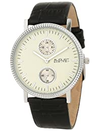 August Steiner Men's AS8048WT GMT Leather Strap Quartz Watch