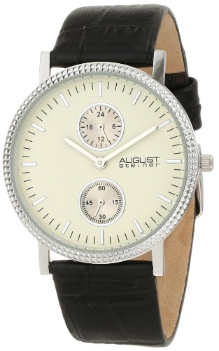 August-Steiner-Mens-AS8048WT-GMT-Leather-Strap-Quartz-Watch