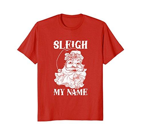 Mens Sleigh My Name T-Shirt - Funny Christmas Santa Vintage 3XL Red