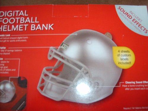 Digital Football Helmet Bank - Silver