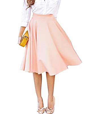 Clothink Women Peach Pink/White High Waist Midi Skater Skirt