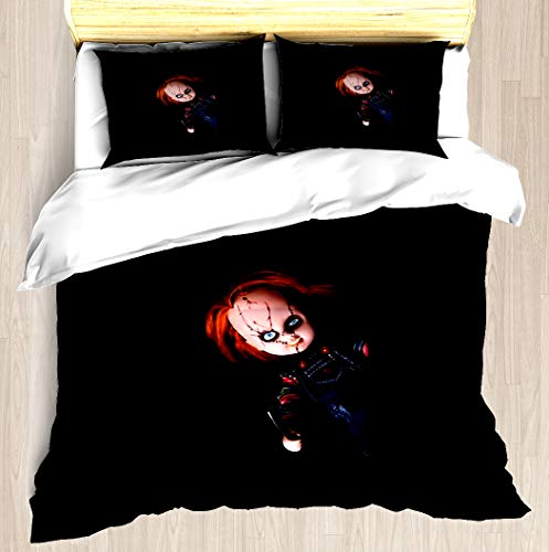 Bed Pattern Doll - NTCBED Evil Horror Doll - Duvet Cover Set Soft Comforter Cover Pillowcase Bed Set Unique Printed Floral Pattern Design Duvet Covers Blanket Cover Queen/Full Size