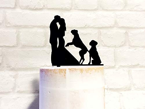 Jumping Dog Cake Topper Silhouette Wedding Cake Topper with Two Boxer ()
