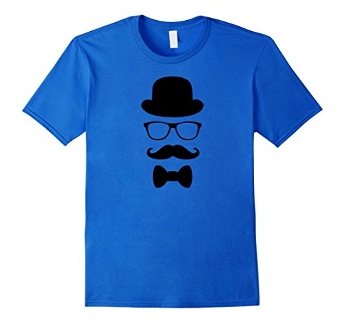 Mens Fake Moustache and Glasses Disguise T Shirt Cool Design 2XL Royal Blue (Quality Fake Moustache)