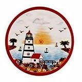 "Lighthouse Faro Ceramic Tile Trivet or Wall Sculpture Plaque 8"" Diameter Multi"