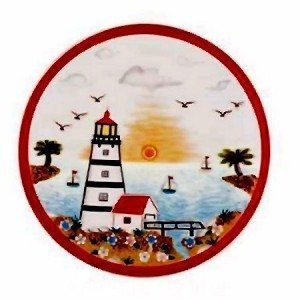 Lighthouse Faro Ceramic Tile Trivet or Wall Sculpture Plaque 8'' Diameter Multi